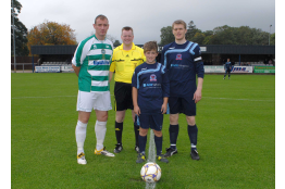 10/09/11 Turriff Utd FC v Buckie Thistle FC. Mascot Ewan Shearer at the Kick off picture Names L/R Buckie Thistle Captain Michael Morrison Referee Jim Lyon & Dave MacKenzie Turriff Utd Captain.