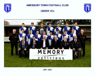Amesbury Town U-18 Season 2006/2007 with sponsors Memory Opticians