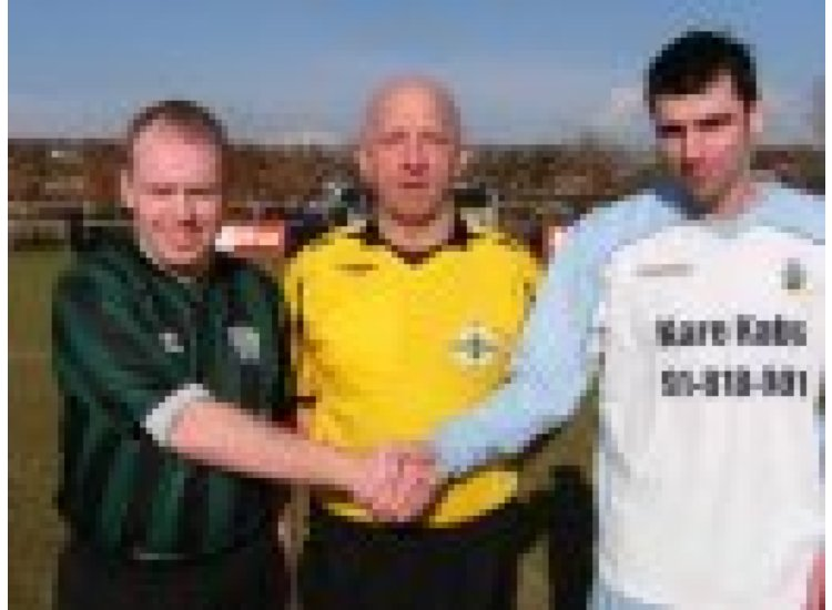 Mark Miller with referee Keith Hughes and the Malachians Captain