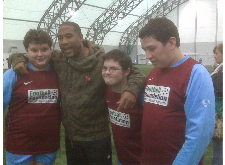 John Barnes with Ben, Gordon and Jordan