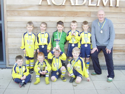Members of the Under 6's squad who recently entered and won a Leeds United tournament at Thorp Arch, Well done boys.