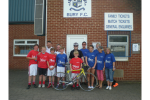 Martin and Nigel make it to Bury football Club along with family and friends on Day 2