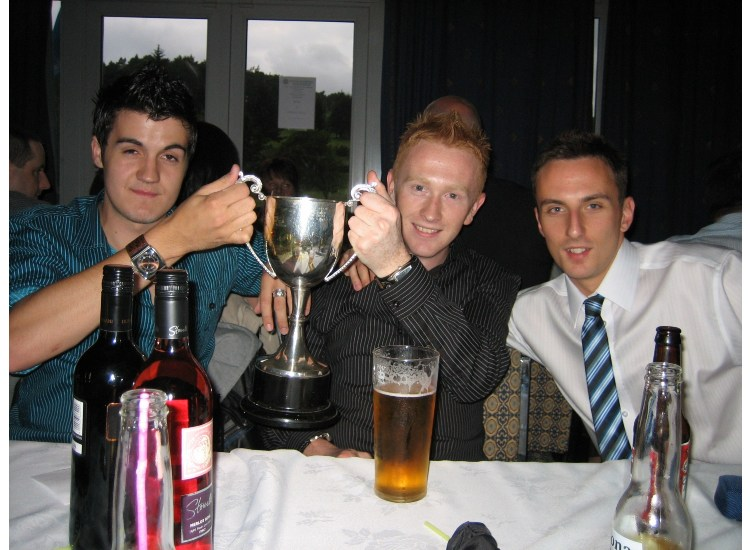 The boys toast the Player of the year