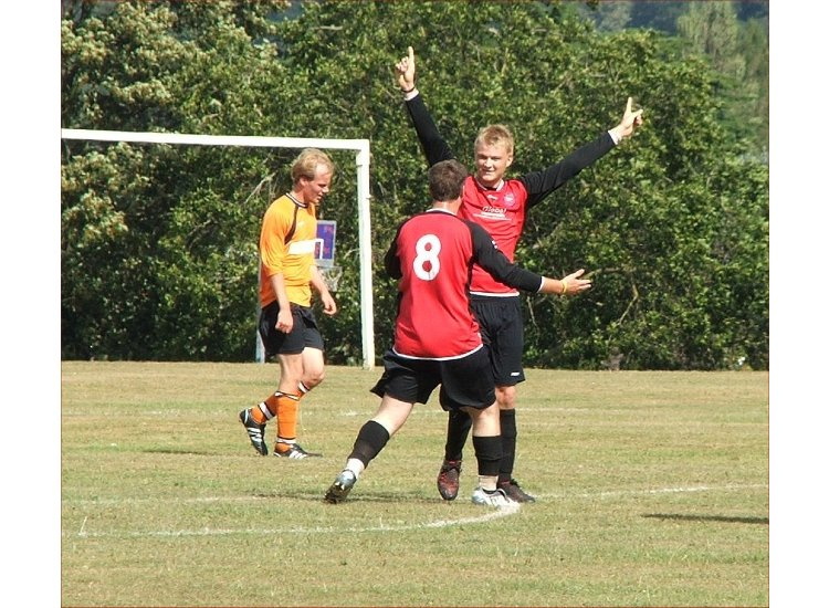 Sean Gavagan celebrates a strike v Hurst