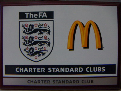 Plaque showing FA Charter Standard Club Award 