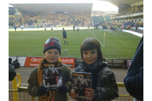 Ben and Ryan watching Wolves v Burnley