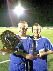 Captain Mike Duckworth and Vis Captain Andy Wood with the winning Halawell Shield