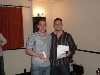 Richard Woodward receiving Top Goal Scorer 2007-2008 for 35 goals from Manager Danny Coughlan