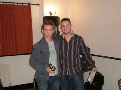 Keeper Mike Kurtiaynk receiving Managers Player 2007/2008 award from Manager Danny Coughlan
