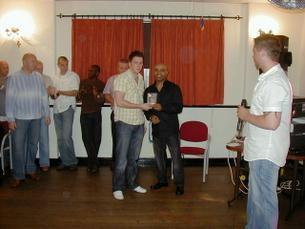 Chris Rothwell 2006/2007 Manager Player receiving his award from danny Wallce