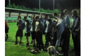 The lads collect the League Cup after beating Brown Clee on Pens