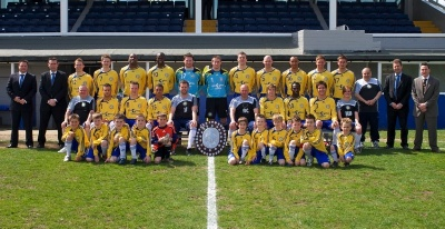 The Dragons with the 2008-09 Farnborough FC squad - two sets of champions together