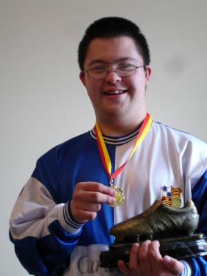 Kenji with his &quot;Golden Boot&quot; for the STEP five-a-side Fun League 2005/6 season.