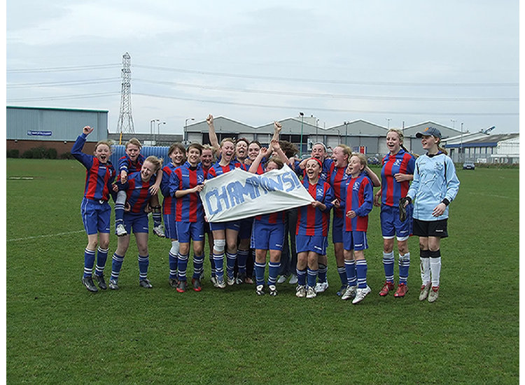 U12 Girls celebrating their league champions 07/08 season