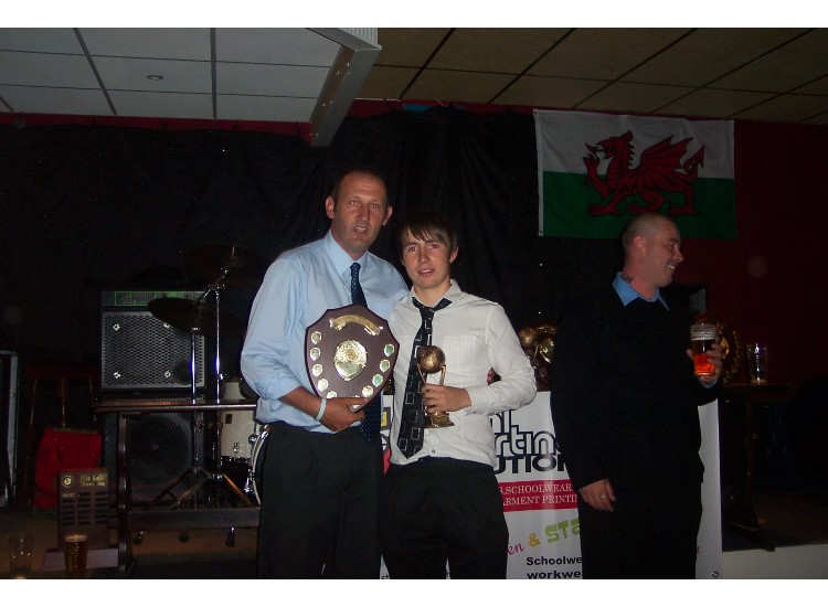 Dafydd Colwill receives his thoroughly deserved  'Most Improved Player' award