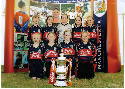 THE GIRLS TEAM WITH THE FA CUP