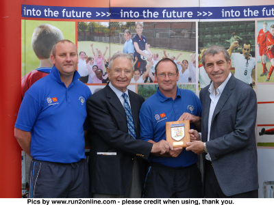ENGLAND LEGEND PETER SHILTON PRESENTS THE CHARTER STAND CLUB OF THE YEAR 2008 AWARD TO CHAIRMAN CHRIS MARTIN ALONG WITH FRANK HANNAH, CHAIRMAN OF MANCHEATER F.A.