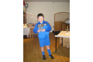 Liam with his Goal of the Season award