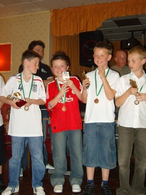 u10s rednal with their trophies 