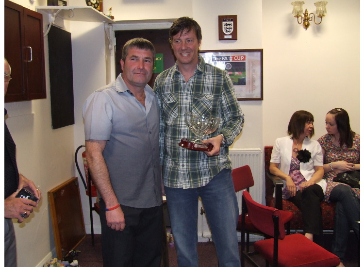Club chairman Brian Burn presents manager Gary Forrest with a special, engraved glass bowl as a thank you for our successful season.