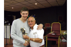 Jamie Harwood - Supporters and Players 'Player of the Year' with club President John Atkinson