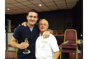 Justin Keegan - Board's 'Player of the Year with club President John Atkinson