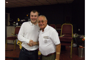 Sonny Andrews - Top Goalscorer with club President John Atkinson