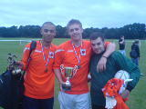 Charlie Fournier collects the SBC 5 a Side Tournament Cup for 2008 and Phil Page wins Player of Tournament after an outstanding performance in the final.