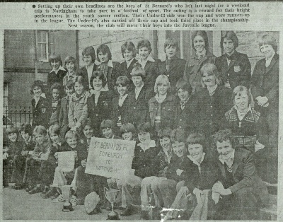 A St Bernards party pictured in the early 1980s at St Bernards Primary School near the old club rooms in Dean Street about to set off for Nottingham.