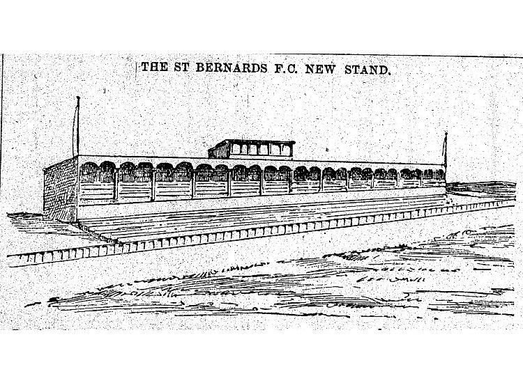 Sketch of Grandstand at Logie Green 1890s