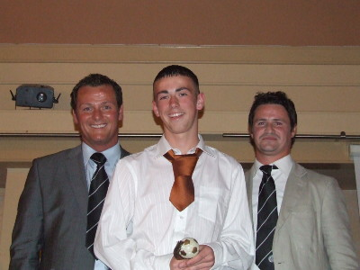 Under 14 Most Improved Player of the Year Stephen Rofe with Jim Magilton and Phil Mulryne