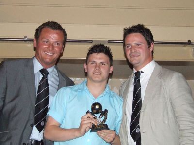 Under 18 Club Man of the Year Mark Fitzpatrick with Jim Magilton and Phil Mulryne.