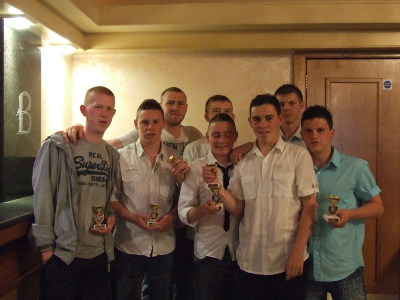 Some of our Under 18 squad at our Annual Presentation Night in The Balmoral Hotel