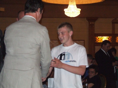 Gerard Rooney receiving his trophy from Phil Mulryne at 2008 Presentation Night.