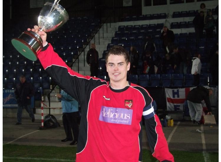 Captain Niall Magurie holds the Staffs FA Vase