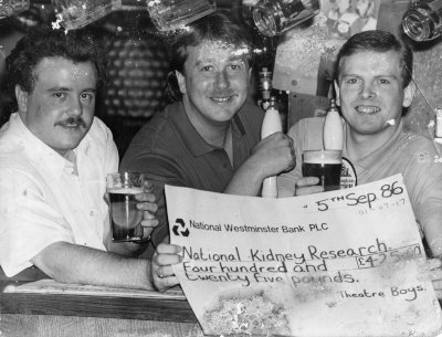 TBFC & Theatre Hotel raising funds for kidney research 5TH September 1986.L/R Stephen Smith,Mick Moran & John Kirk