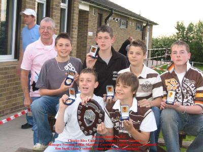 Lads collect trophy, for Trophy League Champions with manager