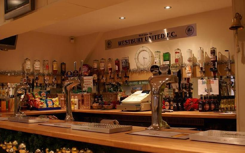 Attractive well stocked bar