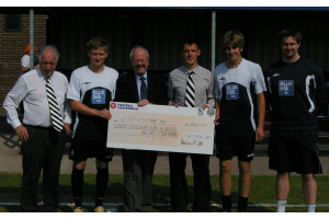 Lord Faulkner presents Cheque to Weston-super-Mare FC