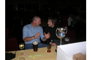 Dave Barnes telling Lee Chaplin - We won the tile by this much